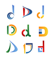 d alphabet symbols and elements of letter d vector image vector image