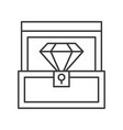 diamond in box jewelry related outline icon vector image
