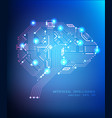digital circuit brain concept on blue vector image