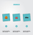 flat icons armored car hardhat siren and other vector image vector image