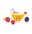 funny bowl of cottage cheese and raspberry vector image vector image