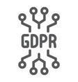 gdpr circuit line icon personal and privacy chip vector image vector image