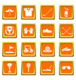 golf icons set orange square vector image vector image