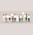group young men holding empty boards vector image vector image
