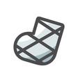 gypsum broken leg icon cartoon vector image