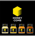 honey comb logo packaging honey mockup jar vector image
