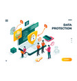 isometric banner for internet data protection vector image