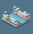 isometric city block vector image