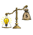 light bulb idea and money on scales vector image vector image