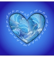 Love card Heart design with winter frozen glass vector image