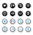 Menu drop down round icons set vector image vector image