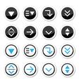 Menu drop down round icons set vector image