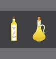 olive oil bottles in cartoon vector image vector image