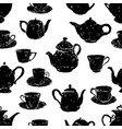 pattern of the silhouettes of teacups and teapots vector image