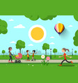 people in city park cartoon vector image vector image