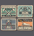 repair construction industry work tools posters vector image vector image