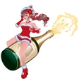 Santa girl flying on bottle champagne Maiden vector image vector image