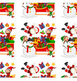 seamless background design with santa on sleigh vector image vector image