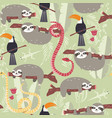 seamless pattern with cute rain forest animals vector image vector image