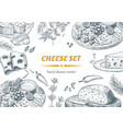 set cheese top view frame vector image