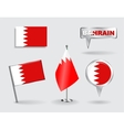 Set of Bahrain pin icon and map pointer flags vector image vector image
