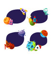 set of stickers planet and ship vector image vector image