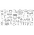 sketch fast food icons street fastfood set vector image