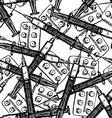 Sketch syringe and tablets package in vintage vector image vector image
