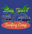 surfing concept for shirt or logo print stamp vector image