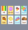 sweets advertising cards jelly lollipop cakes and vector image vector image