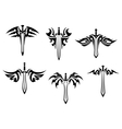 Tribal tattoos with swords and daggers vector image vector image