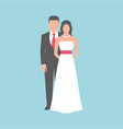 wedding couple on blue background vector image vector image