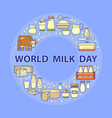 world milk day card set of dairy icons vector image vector image