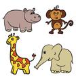 hippo monkey giraffe elephant vector image