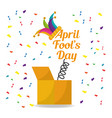 april fools day surprise box with jester hat vector image vector image