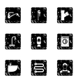 Bathroom icons set grunge style vector image vector image