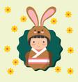 beautiful kokeshi doll in costume animal kimono vector image
