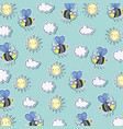 bees insects with sun and clouds background vector image vector image