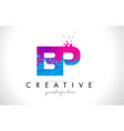 bp b p letter logo with shattered broken blue vector image