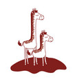 cartoon giraffe mom with calf over grass in color vector image vector image