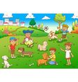 child and pet cartoon vector image vector image