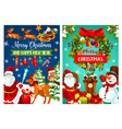 christmas holiday banner with santa and snowman vector image
