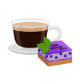 coffee with cake decoration vector image vector image