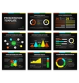 Colorful graphs and presentation graphics on black vector image