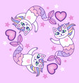 cute cat mermaid vector image