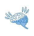 drawing brain human headache pain sick organ vector image