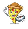 explorer pizza slice mascot cartoon vector image vector image