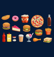 fast food pizza burger hot dog and fries icons vector image vector image