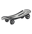 grey skateboard with grey wheels on white vector image