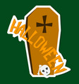 hand drawn halloween icon with a textured coffin vector image vector image